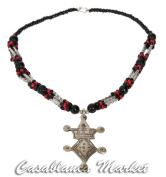 Artisan made Moroccan Pewter Berber Design Pendant Necklace