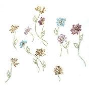 Rhinestone Transfer Hot Fix Motif Fashion Design Jewellery Cushion Flower Garden 3 Sheets 9.4*22cm