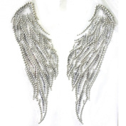 Rhinestone Iron on Transfer Hot Fix Motif Crystal Fashion Design Wings of Peace 3 Sheets 7.5*22cm