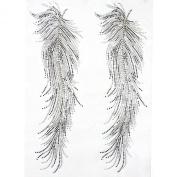 Rhinestone Iron on Transfer Hot Fix Motif Angel Feathers Deco Fashion Design 3 Sheets 8.8*33cm