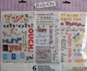 E-Z RUB ON Transfers 6 VALUE PACK w PHRASES, Script (Alphabet) & MORE TRANSFERS!