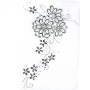 Rhinestone Iron on Transfer Hot Fix Motif Fashion Design Flower Vine Deco 3 Sheets 9.4*35cm