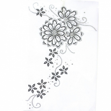 Rhinestone Iron on Transfer Hot Fix Motif Fashion Design Flower Vine Deco 3 Sheets 9.4*35cm