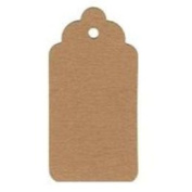 20 Retro Brown Scallop Tag with 20 Strings 350gsm Paper Kraft 4.5x9.5cm