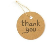 "20 Round Card Paper Tag ""thank you"" Product Price Label with 20 Strings"