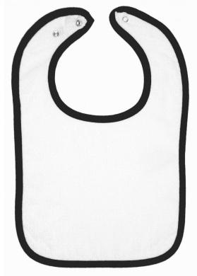 Rabbit Skins Infant Terry Snap Bib (White_Black) (ALL)