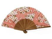 Japanese Design Silk Handheld Folding Fan, Pink Zig Zag Pattern w/white Flowers and Green Leaves HF-239