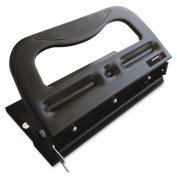 Skilcraft Comfort Grip 3hp Heavy-duty Paper Punch - 3 Punch Head[s] - 32 Sheet Capacity - 9/32 - Black Metallic