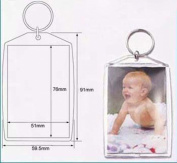 50 Pcs of Blank Clear Acrylic Keyring 51x76mm Photo Insert Craft Keychain 99808