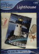 J & P Coats Latch Hook Kit - Lighthouse 50cm by 70cm - Features a Lighthouse at night