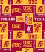 College USC University of Southern California Trojans Print Fleece Fabric By the Yard