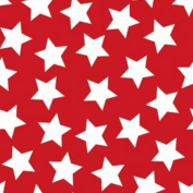 White Stars on Red Flannel Fabric