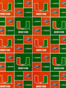 University of Miami By Sykel - 100% Cotton, 110cm Wide By the Yard
