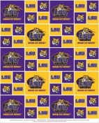 Cotton College LSU Louisiana State University Tigers Print Cotton Fabric By the Yard