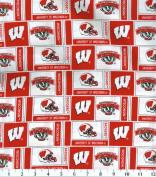 NCAA Cotton Fabric-Wisconsin Herringbone
