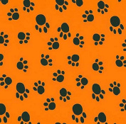 VelvaFleece Paws Black on Orange Fleece Fabric Print by the Yard