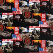 Cotton United States of America Marines Military Cotton Fabric Print - 021marines