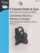 Dritz Sew On Covered Hook & Eye Closures ~ Brown ~ Extra Large For Fur & Deep Pile Fabrics ~ 2 pk