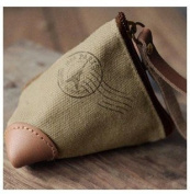Canvas Wallet Coin Bag Leather Triangle Zero Purse