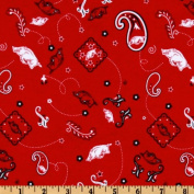 Collegiate Cotton Broadcloth University of Arkansas Bandana Red Fabric