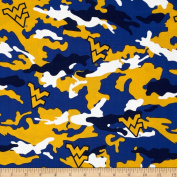 West Virginia University Cotton Camouflage Blue/Yellow Fabric