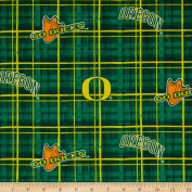 Collegiate Cotton Broadcloth University of Oregon Plaid Green Fabric