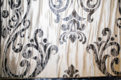 Damask Design, Beverly Carro Collection 555, Colour Black and Cream, 140cm Sold By the Yard. Reversible Fabric.