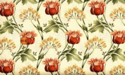 Marcus Brothers 'Folk Art flowers and Leaves' on Creamy Cotton Fabric - 1yd 5.1cm