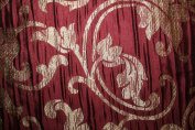 Damask Design, Beverly Carro Collection 444, Colour Burgundy , 140cm Sold By the Yard. Reversible Fabric.