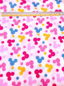 Multi Colour Mickey Mouse Polka Dot Print Fabric BTY