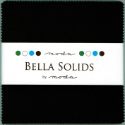 Moda BELLA SOLIDS BLACK 13cm Charm Pack Fabric Quilting Squares 9900PP-99