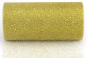 Kel-Toy Glitter Tulle Fabric, 15cm by 10-Yard, White/Gold