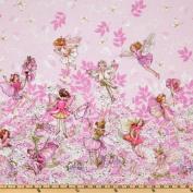 Michael Miller Petal Flower Fairies Double Border Stripe Pink Fabric