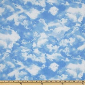 Timeless Treasures Planes Trains & Automobiles Clouds Blue Fabric