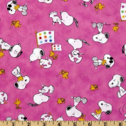 Peanuts-Project Linus Snoopy & Woodstock Toss Pink Fabric
