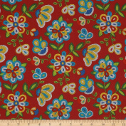 Tucson Beaded Floral Red Fabric