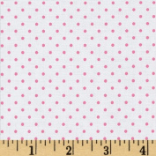 Riley Blake Swiss Dots White/Hot Pink Fabric