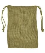 13cm x 18cm Moss Green Jute Favour Bags - 12 Pack