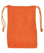 13cm x 18cm Orange Jute Favour Bags - 12 Pack