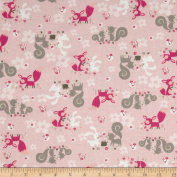 Little Friends Forest Critters Pink Fabric