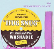 "Hug Snug Seam Binding 100-yds Roll ½"" Wide Hug Snug ~ 406 Strawberry Glaze ~ 100 percentage Woven-edge Rayon ~ Wash 'n Wear ~ made in USA"