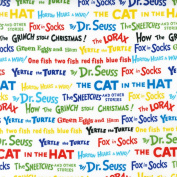 Celebrate Seuss! Book Titles White Fabric