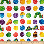 The Very Hungry Caterpillar Dots Large Scattered Fruit Whtie Fabric