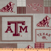 Collegiate Fleece Texas A & M Plaid Blocks Fabric