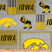 Collegiate Fleece University of Iowa Plaid Blocks Fabric