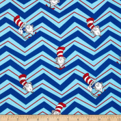 The Cat in The Hat 2 Chevron Cat in The Hat Celebration Blue Fabric