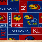 Collegiate Fleece University of Kansas Football Blue Fabric