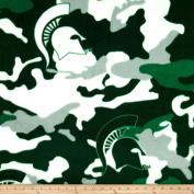 Michigan State University Fleece Camo Green/White Fabric