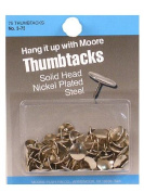Moore Thumb Tacks 1.1cm . head 0.8cm . point card of 75