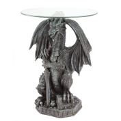 Guarding Dragon Stone Look Figural Home Accent Table